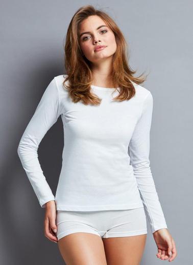 Penye Mood 4020 Bayan Uzun Kol T-Shirt  Beyaz